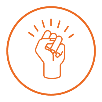 pictogram of a raised fist symbolizing empowerment