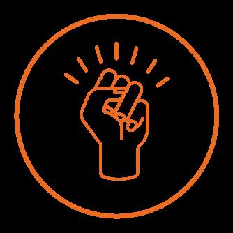 pictogram of a raised fist symbolizing empowerment